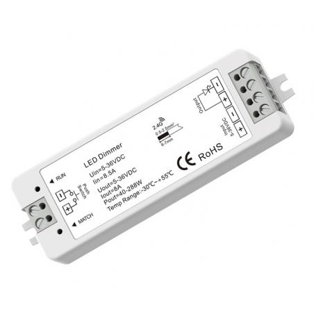 """LED juostų valdymo sistemos radiobanginis imtuvas, """"Push Dim"""", 5 - 36V 1x8A vienos spalvos  - 1"""