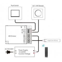 """LED juostų valdymo sistemos radiobanginis imtuvas, 0/1-10V, """"Push Dim"""" (trys viename) 12 - 24V 1x20A vienos spalvos"""