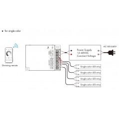 RGBW / RGB / CCT / 4 kanalų LED juostų radiobanginis imtuvas