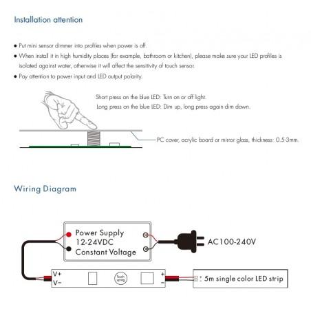 LED juostų valdymo sistemos lietimui jautrus valdiklis 12 - 24V 1x3A vienos spalvos