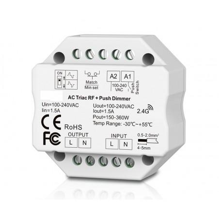 Apšvietimo valdymo sistemos radiobanginis imtuvas, AC PUSH-DIM, TRIAC  - 1