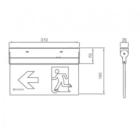 Universalus lubinis / sieninis evakuacinis šviestuvas VLT-EX16MC
