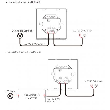 Šviesos intensyvumo reguliatorius, TRIAC + RF 2.4GHz, 1 kanalo išėjimas.