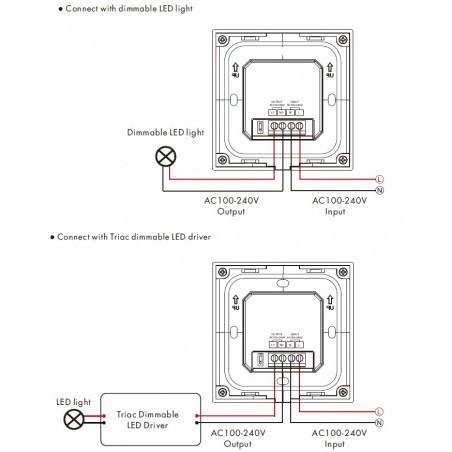 Šviesos intensyvumo reguliatorius su stiklo apdaila, juodas, valdymas TRIAC + RF 2.4GHz, 1 kanalo išėjimas.