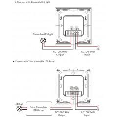 Lietimui jautrus šviesos intensyvumo reguliatorius, baltas, valdymas TRIAC + RF 2.4GHz, 1 kanalo išėjimas.