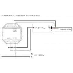 Šviesos intensyvumo reguliatorius, siūstuvas RF 2.4GHz, 1 kanalo išėjimas 0-10V.