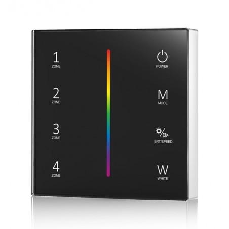 Lietimui jautrus RGBW LED juostų valdymo sistemos nuotolinis pultas, 4 zonos, juodas  - 1