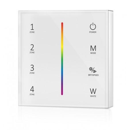 Lietimui jautrus RGBW LED juostų valdymo sistemos nuotolinis pultas, 4 zonos, baltas  - 2