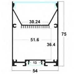 LED profilis su sklaidytuvu PD03 2000x54x75 mm