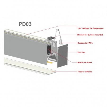LED profilis su sklaidytuvu PD03 2000x54x75 mm  - 2