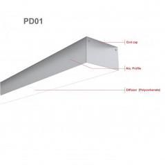 LED profilis su sklaidytuvu PD01 2000x54x34 mm  - 2