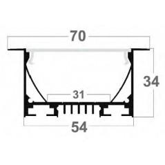 LED profilis su sklaidytuvu, įleidžiamas PD02 2000x70(54)x34 mm