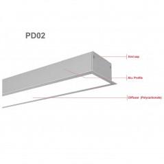 LED profilis su sklaidytuvu, įleidžiamas PD02 2000x70(54)x34 mm  - 2