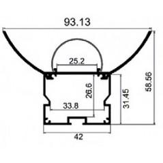 LED profilis su sklaidytuvu PN9 2000x93x58 mm
