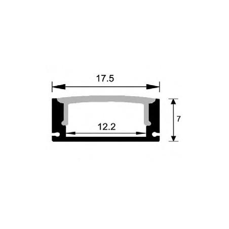 LED profilis su sklaidytuvu, paviršinis P014 2000x17.5x7mm