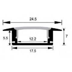 LED profilis su sklaidytuvu, įleidžiamas P024 2000x24.5(17.5)x7mm