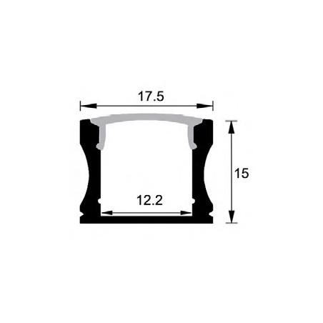 LED profilis su sklaidytuvu BN-J, paviršinis 3000x17.5x15 mm