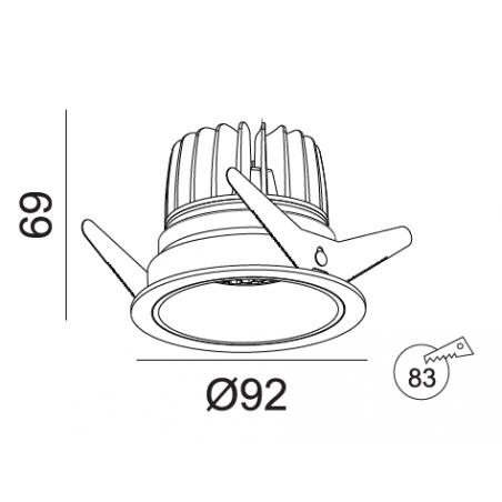 Įleidžiamas LED šviestuvas TIFFANY R1353 10W, 3000K, 36°