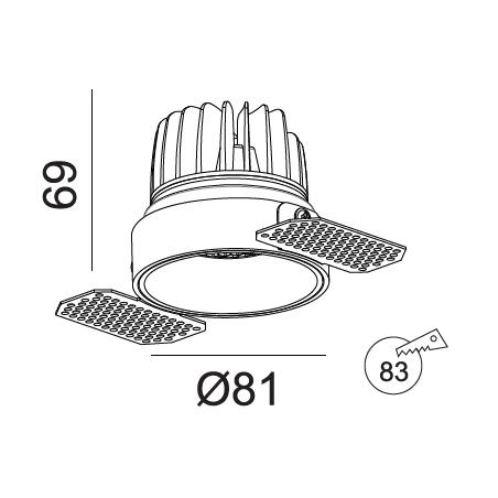 Užglaistomas LED šviestuvas TIFFANY R1355 10W, 3000K, 36°