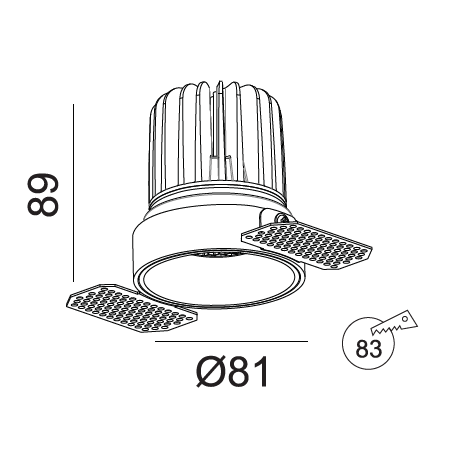 Užglaistomas LED šviestuvas TIFFANY R1356 15W, 3000K, 36°