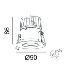 Įmontuojamas LED šviestuvas ANGELO R1004, 10W, 3000K, 40°