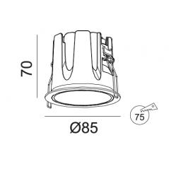 Įleidžiamas LED šviestuvas ROSE R1336 10W, 3000K, 45°