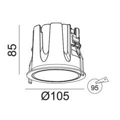 Įleidžiamas LED šviestuvas ROSE R1350 18W, 3000K, 45°