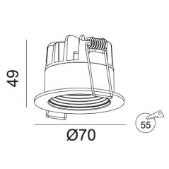 Įmontuojamas LED šviestuvas GABRIEL R1362 Juodas, 6W, 3000K, 36°, IP44