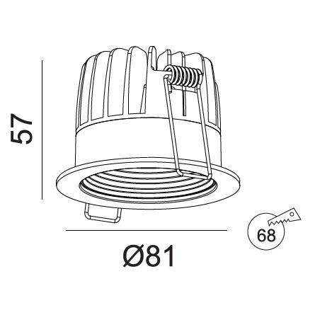 Įmontuojamas LED šviestuvas GABRIEL R1363, 10W, 3000K, 60° IP44