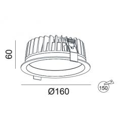 Įleidžiamas LED šviestuvas VIGOROUS R3006 20W/25W, 3000K, IP44