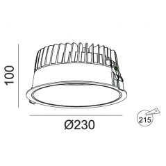 Įleidžiamas LED šviestuvas VIGOROUS R3030 35W/45W, 3000K, IP44