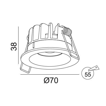 Įmontuojamas LED šviestuvas NOBLE R1346, 5W, 3000K, 50°, IP44