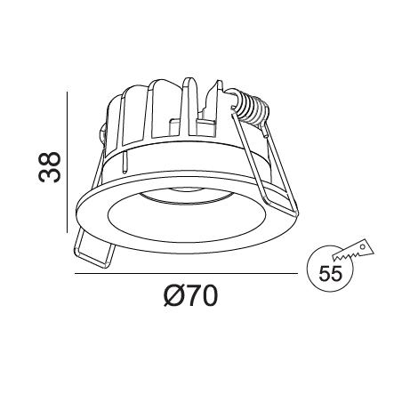 Įmontuojamas LED šviestuvas NOBLE R1347, 7W, 3000K, 50°, IP44