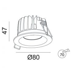 Įmontuojamas LED šviestuvas NOBLE R1003, 10W, 3000K, 60°, IP44