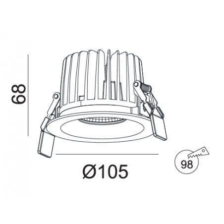 Įmontuojamas LED šviestuvas NOBLE R1013, 15W/18W, 3000K, 50°, IP44
