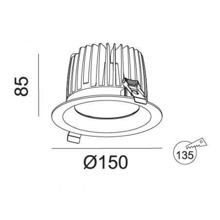 Įmontuojamas LED šviestuvas NOBLE R1132, 25W/33W, 3000K, 38°, IP44