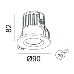 Įmontuojamas hermetinis LED šviestuvas LILITH R1258, 10W, 3000K, 60°, IP65