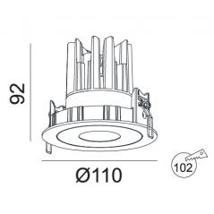 Įleidžiamas LED šviestuvas RAFAEL R1276 15W, 3000K, 40°