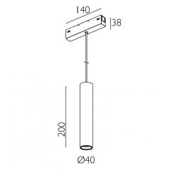 Magnetinis pakabinamas šviestuvas VPA4020NR, 5W, 3000K