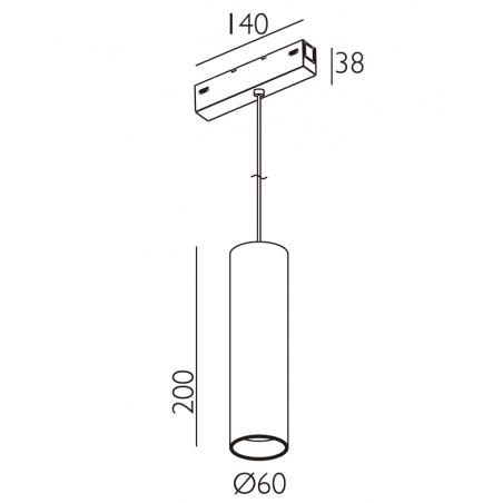 Magnetinis pakabinamas šviestuvas VPA6020NR, 12W, 3000K