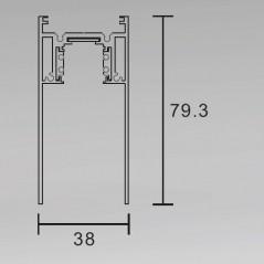 Magnetinis bėgelis paviršinis / pakabinamas juodas S35 2000mm