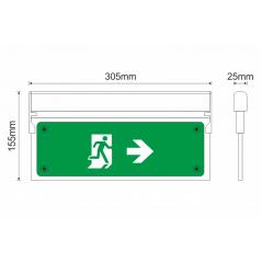 Universalus lubinis / sieninis evakuacinis šviestuvas MLD-28D/w Rodyklės kryptis į dešinę / kairę  - 1