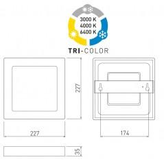 Universalus įleidžiamas / lubinis LED šviestuvas BOLERO 18W, kvadratinis, keičiama šviesos spalvos temperatūra