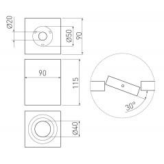 Paviršinis kvadratinis šviestuvas SENSA, baltas, 90x90x115, reguliuojamas