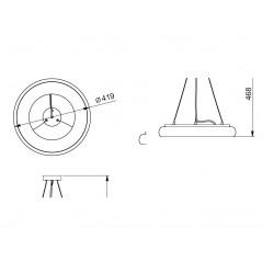 Žiedo formos šviestuvas 35W LEON juodas Diametras 419mm