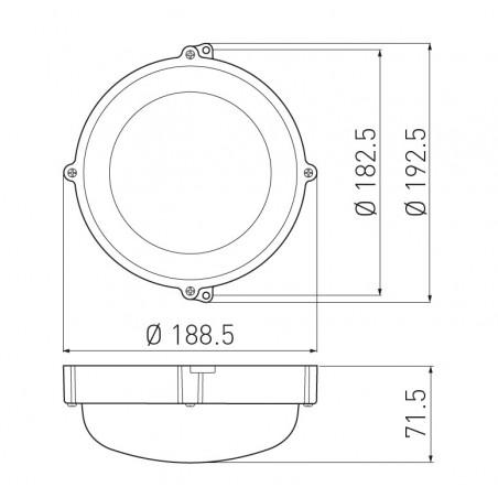Apvalus šviestuvas LUXIA, 10W, 4000K, IP65, IK10