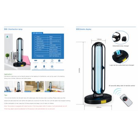 Antibakterinė ultravioletinė dezinfekcinė UV-C lempa ST-XD-01B su valdymo pulteliu