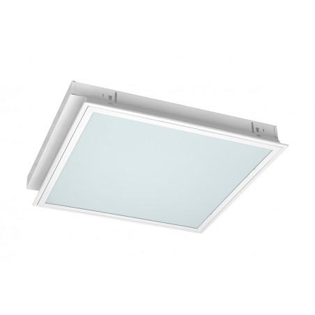 4xT8 liuminescencinių lempų įleidžiamas šviestuvas 600x600mm, EVG, be lempų, su prizmatiniu gaubtu  - 1