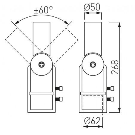 Reguliuojamo kampo adapteris gatvės šviestuvams SA1 (50mm šviestuvo tvirt.)