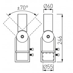 Reguliuojamo kampo adapteris gatvės šviestuvams SA2 (60mm šviestuvo tvirt.)